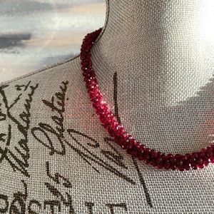 Ruby Red Sparkling Cluster Necklace